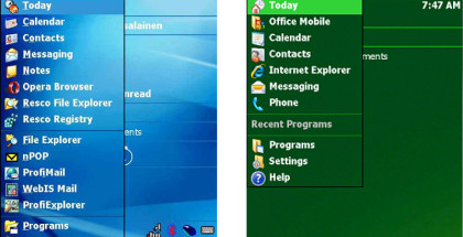 Start Menu, Windows Mobile, mobile phone