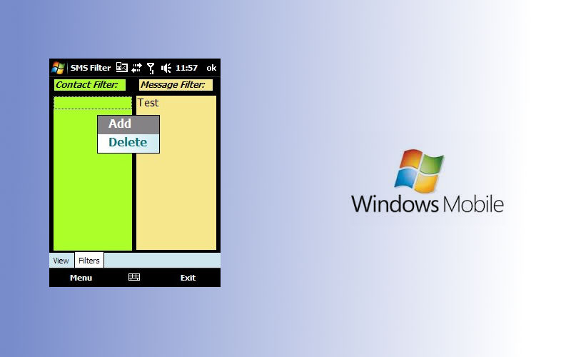 SMS Filter, Windows Mobile apps, Text message filter