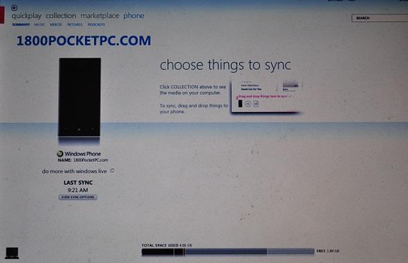 WP7 Sync ZUNE
