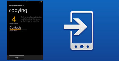 Transfer my Data, backup sms and mms, backup contacts windows phone