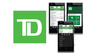 TD Bank mobile app, banking apps for Windows Phone, money and finance