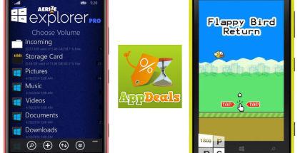 Aerize Explorer Pro, AppDeals, Flappy Bird clone