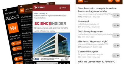 Hacker News clients, Hacky News, Windows Phone news and weather