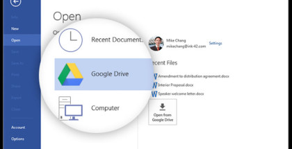 Google Drive, Google cloud services, sync documents and settings online