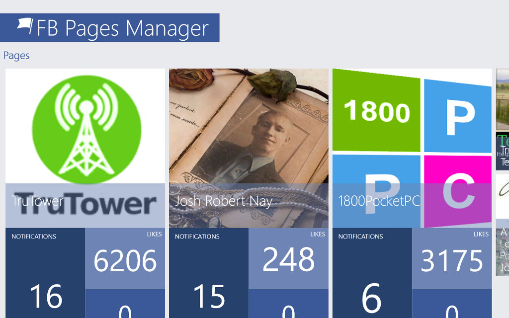 Manage Facebook pages, Facebook Windows 10, Win10mobile apps
