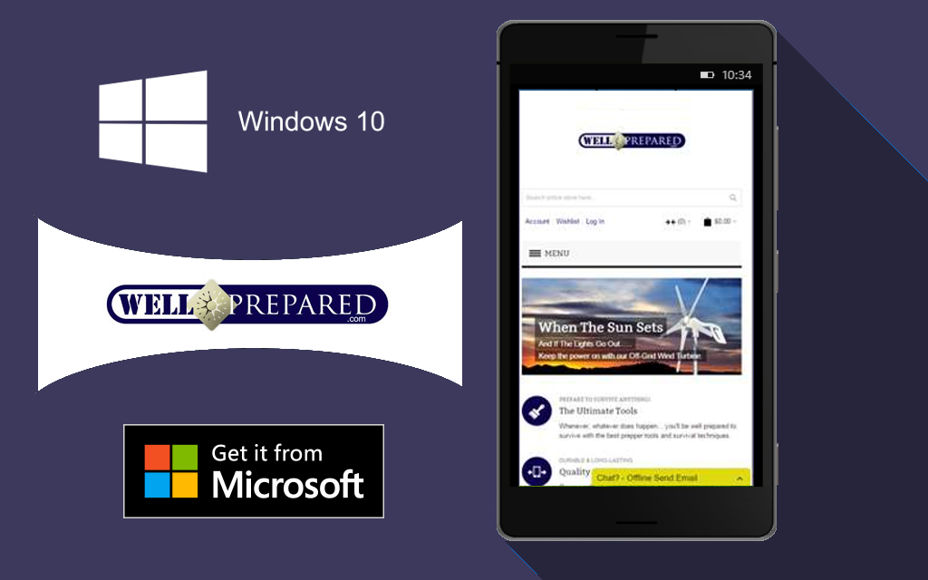 Well Prepared, prepping mobile app, Windows 10 webapps